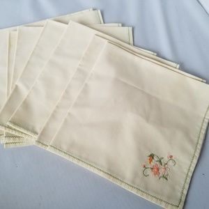 Other - Vintage Fabric Embroidered Napkin Set of 8